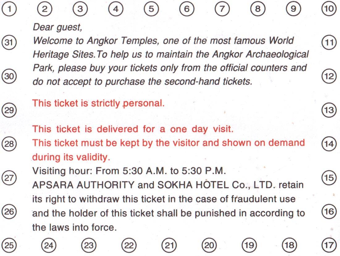 Билет в Ангкор Ват обратная сторона